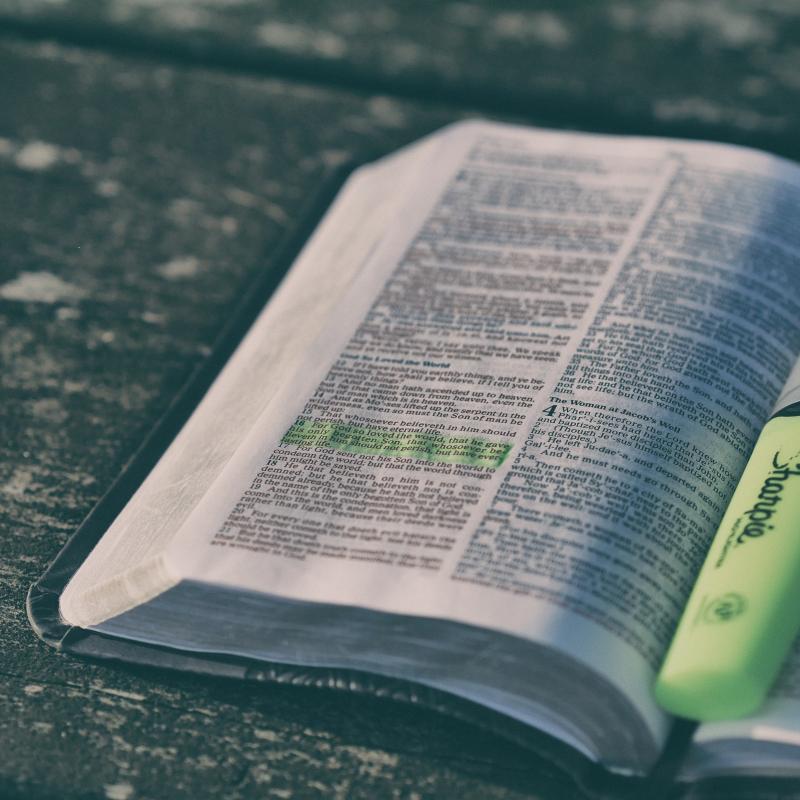 Ein Buch mit Passagen, die mit Leuchtstift markiert sind