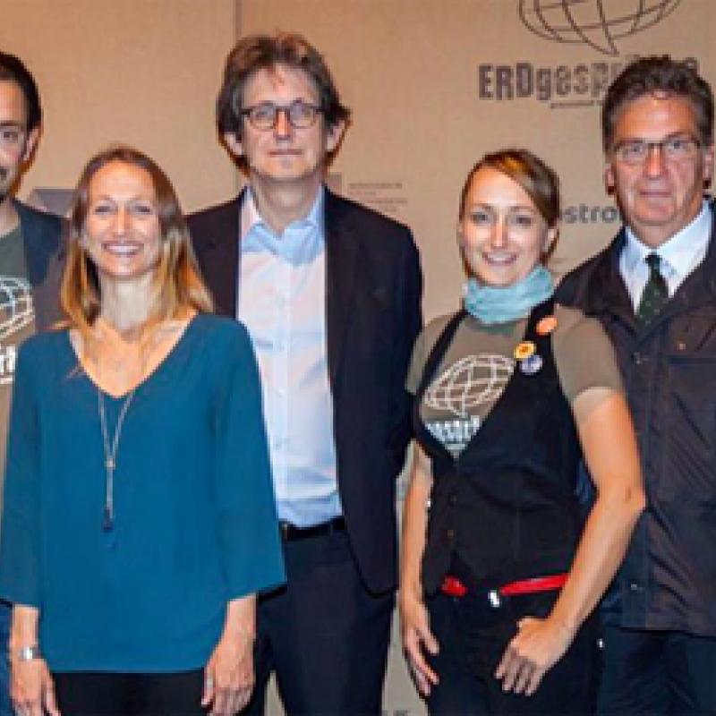 Helga Kromp-Kolb, Adam Pawloff, Céline Cousteau, Alan Rusbridger, Angie Rattay, John Thackara und Peter Iwaniewicz beim VIP-Empfang