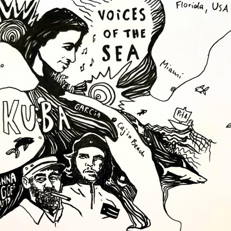 Illustration in schwarz-weiß mit Schriftzug Kuba und Kopf von Che Guevara, Fidel Castro