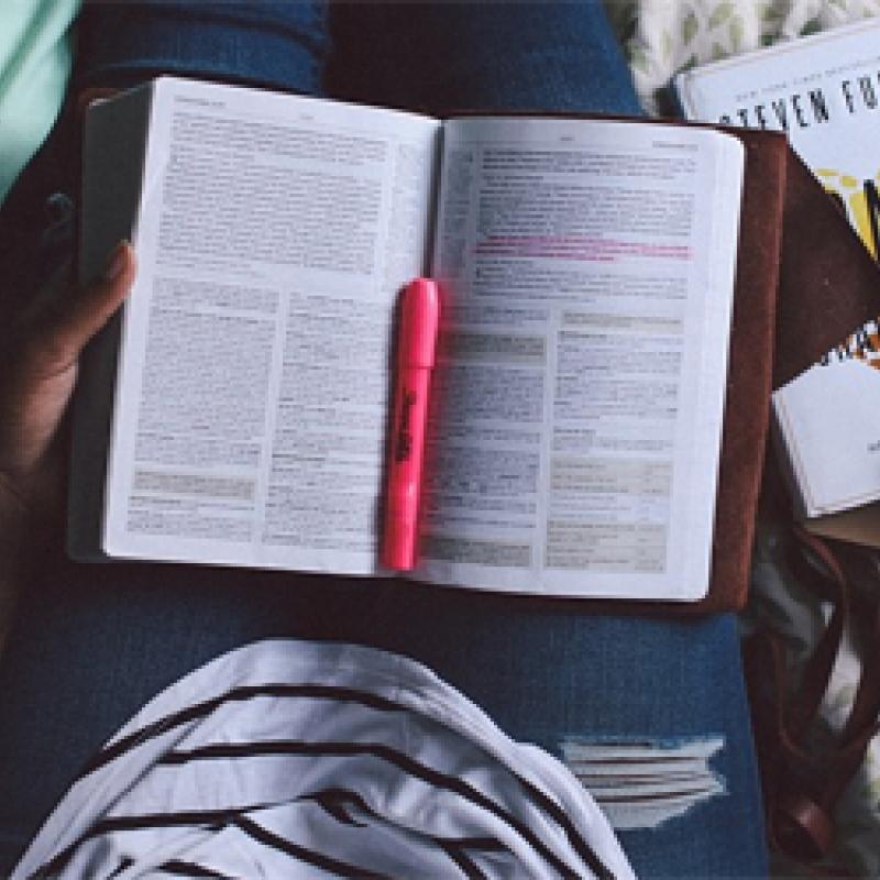 Beim Lernen mit aufgeschlagenem Buch auf der Schoß