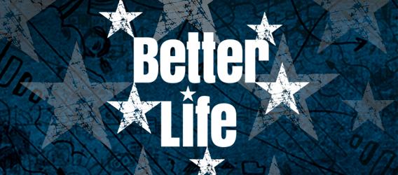 """Logo """"Better Life Index"""" mit Sternen auf dunkelblauem Hintergrund"""