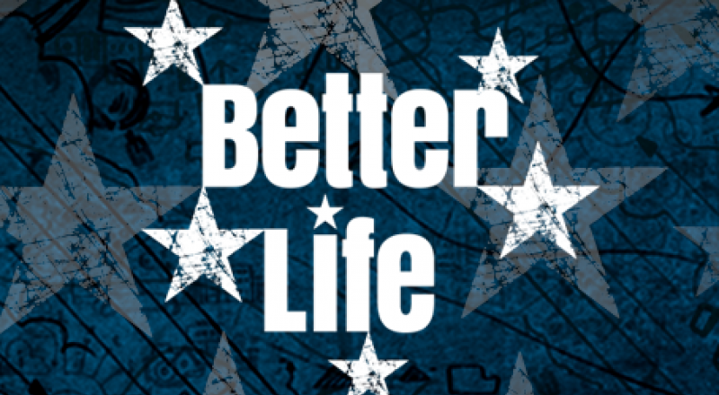 Schriftzug Better-Life-Index mit Sternengrafik