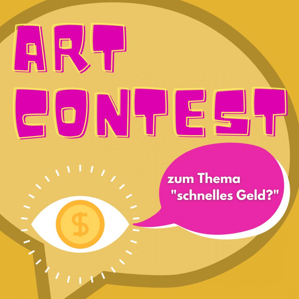 Schriftzug Art Contest mit Sprechblase