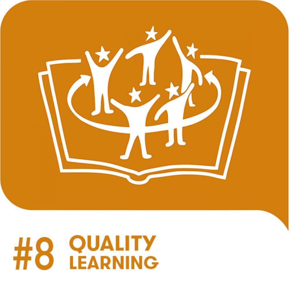 Youth Goal 8 Icon auf orangem Hintergrund
