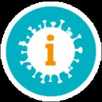 Icon Coronavirus in türkisem Kreis mit orangem i für Information drinnen